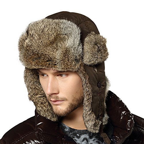 Kenmont Schnee-Winter-Männer im Freien 100% Kaninchenfell Bomber Trapper Russland Hut Ski-Mütze (L-23.43inches) (Trapper Bomber)