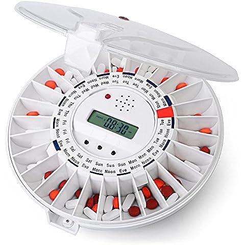 Dispensador de pastillas automático de Ivation, Recordatorio de medicación electrónico con nueva cerradura, una alarma más sonora y luz parpadeante - Parte superior transparente