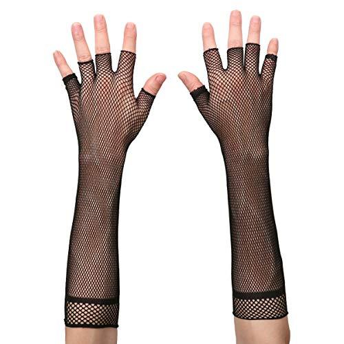 FEESHOW Damen Netzhandschuhe Handschuhe lang aus Nylon Sexy Fischernetz Fingerlose Handstulpen Zubehör Punk Rocker Kostüm Schwarz/Weiß Schwarz One ()