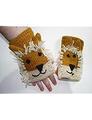 Señoras, Childs León Animal sin dedos guantes de forro polar unisex ropa de esquí
