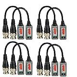 VIKINS 4pares (8Pcs) Mini CCTV BNC Video Balun Transceiver Cable