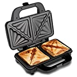 Global Gourmet Sandwich Toaster/Toastie Maker - Deep Fill Non-Stick Hot Plates - 4 Slice Electric Grill Press Perfect for Toasted Cheese Snacks - 900W - Silver/Black