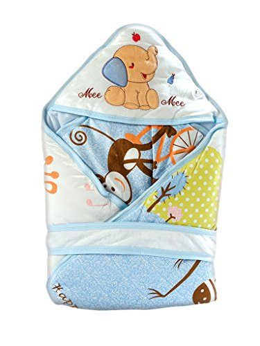 Mee Mee Baby Warm Wrapper Cum Blanket with Hood (Sky Blue)  available at amazon for Rs.839