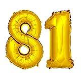 DekoRex® Folienballon Zahlenballon Heliumballon Luftballon Geburtstag Deko 120cm Zahl Gold 81
