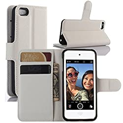 Ipod Touch 5th 6th Gen Case, Ipod Touch 5 6 Case, Hualubro Premium Pu Leather Wallet Flip Phone Protective Case Cover For Apple Ipod Touch 5th 6th Generation (White)