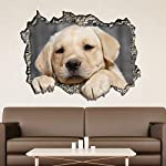 Wallflexi Wall Stickers View Through The 3D Wall - Dog Wall Art Murals Removable Self-Adhesive Decals Nursery Kindergarden Kids Room Restaurant Cafe Hotel Office Home Decoration, multicolour