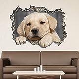 wand Sticker Ausblick während des 3D Wand - Hund Wandkunst Wandmalerei Entfernbarer selbstklebend Aufkleber Kinderzimmer Kindergarten Kinderzimmer Restaurant Cafe Hotel Wohndeko