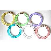 PRESKIN – LED Armreif Set (10 Stück), leuchtender Armring, Party Armband, bunt blinkender Schmuck für Rucksack, Fahrrad, Kind und Hund