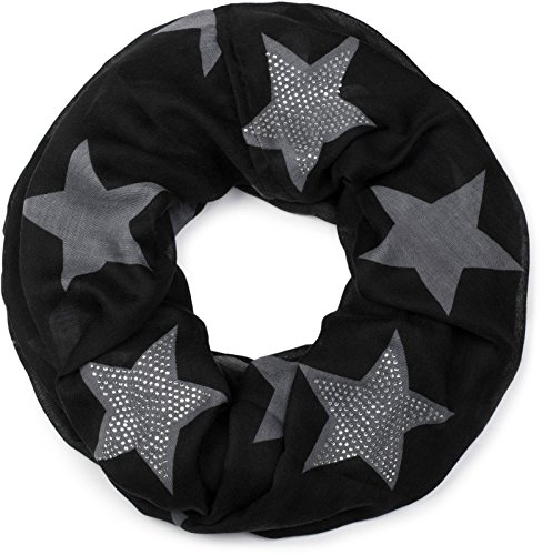 styleBREAKER Loop Schal mit Sterne Muster und edler Strass Applikation, Schlauchschal, Tuch, Damen 01018086, Farbe:Schwarz-Grau (One Size) (Schal Damen)