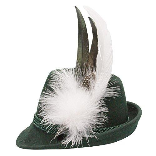 Alpenflüstern Damen Filzhut Trachtenhut grün mit Hutfeder Farbenfroh ADV07600M10 weiß