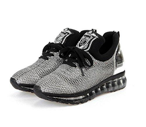 WZG L sandales chaussures printemps et en été gaze en maille respirante à paillettes chaussures casual chaussures ont augmenté espadrilles Silver
