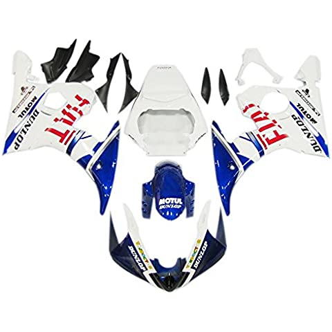 Sportfairings Motos Injección ABS 46 blanco azul accesorios para Yamaha YZF600 R6 años 2005