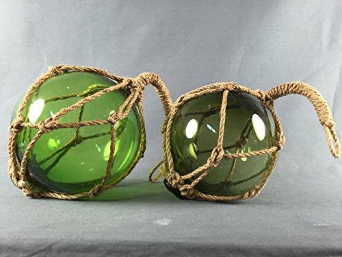 Deko - Fischerkugel aus Glas BASIC in grün mit Tauwerk - 13 cm Durchmesser Schwimmer Für Die Netze