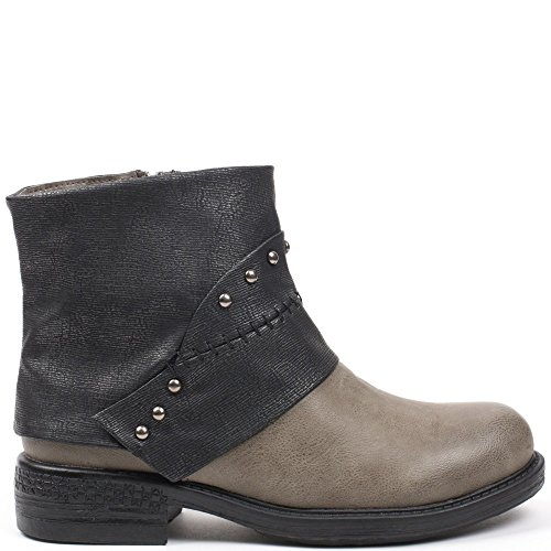 Ideal Shoes, Damen Stiefel & Stiefeletten Grau