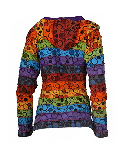 Damen stonewashed Baumwoll-Cardigan mit buntem Blasen-Druck. Mehrfarbig