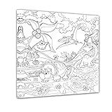 Bilderdepot24 Dinosaurier - Ausmalbild auf Leinwand, aufgespannt auf Rahmen - Quadrat-Format - 50x50 cm - Eigene Herstellung, Faire Produktion in Deutschland