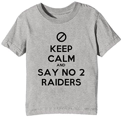 Keep Calm and Say No 2 Raiders Kinder Unisex Jungen Mädchen T-Shirt Rundhals Grau Kurzarm Größe XL Kids Boys Girls Grey X-Large Size XL