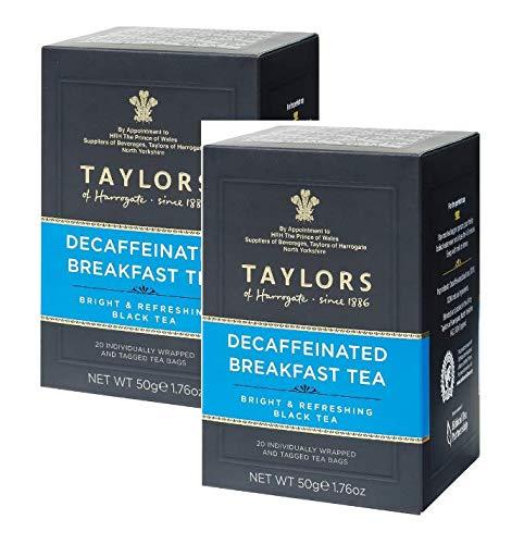 Taylors of Harrogate entkoffeinierter Frühstückstee heller und erfrischender schwarzer Tee - 2 x 20 einzeln verpackte und getaggte Teebeutel (100 Gramm)
