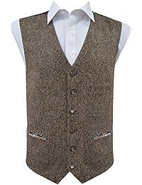 Gilet sans manche en laine mélangée tweed marron - Homme