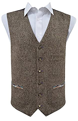 Stylish Brown Donegal Wool Handle Waistcoat with Pocket Detail