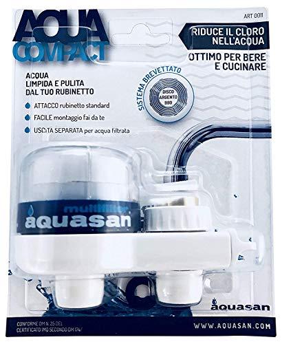 Aquasan Filtro da Rubinetto Filtraggio Acqua Depuratore dAcqua Elimina Cloro Pesticidi Metalli Pesanti Ottimo per Bere e Cucinare Testato e