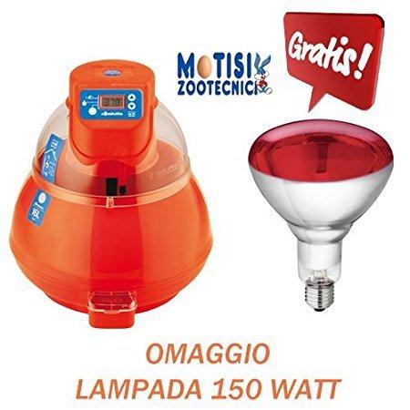 Incubatrice covatutto 16 l digitale + lampada 150 watt a raggi infrarossi per riscaldamento pulcini appena nati