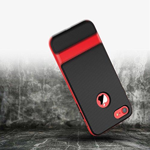 """iPhone 8 7 Hülle, JETech Schlank Hülle Case Tasche Schutzhülle mit Zwei-Layer-schlanke und Kohlenstoff Faser Entwurf für Apple iPhone 7 / 8 4.7"""" (Grau) Rot"""