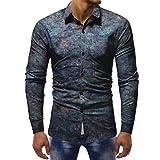 MRULIC Herrenhemd Herbst Lange Ärmel Schmal Geschnittenes Shirt für Partyfest Formeller Anzug mit Mehreren Mustern(A-Mehrfarbig,EU-52/CN-3XL)
