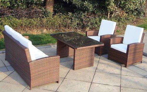 Baidani Gartenmöbel-Sets 10c00039.00001 Designer Rattan Lounge-Garnitur Comfort, 3-er-Sofa, Sessel, Auflagen, Rückenkissen, 1 Tisch mit Glasplatte, schwarz - 3