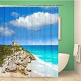 Awowee - Cortina de Ducha de Tulum con diseño de Las ruinas de la Ciudad Maya, en Riviera Maya, 180 x 180 cm, Tela de poliéster Impermeable, con Ganchos para baño