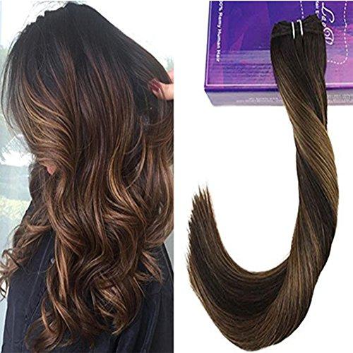 Laavoo 50 cm tessitura remy extension capelli umani naturales 100% brasiliano veri lisci marrone scuro balayage ombre marrone chiaro 100 grammi