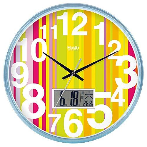 DIDADI Wall Clock Kreisförmige Uhrenbatterie mute Wanduhr hinter dem Motor Schlafzimmer beigefügte Tabelle Herr Ding clock Kalender Quarzuhr Wohnzimmer, 12 LCD, Blau