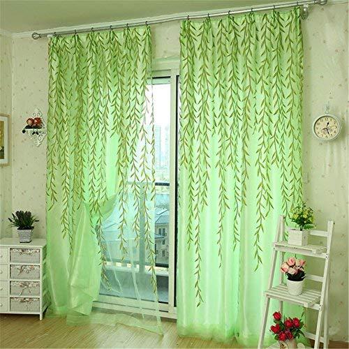 Sheer Vorhang Panel, ohtop Weiden Tüll Fenster Tür Vorhang Leaf Fall Panel Sheer Schal Volants (grün) (Sheer Panel-vorhang Mit Volant)