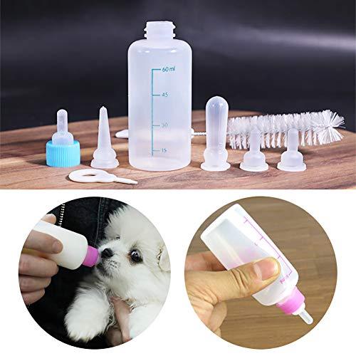 Tigerchen 60-ml-Babyflaschen-Set für Hunde/Katze/Kleintiere (1 Aufzuchtflasche 1 Reinigungsbürste 4 Sauger 1 Nadeln)