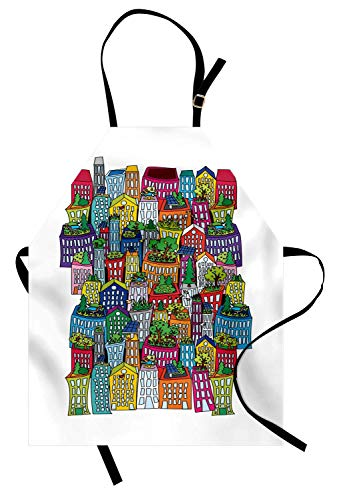 Stadt-Schürze, bunte hohe Gebäude-lustiges Design-ökologisches Anordnungs-Wohnungen-Stadt-Muster, Unisexküchen-Latzschürze mit justierbarem Hals für das Kochen backende Gartenarbeit, Mehrfarben - Wohnung-muster-design