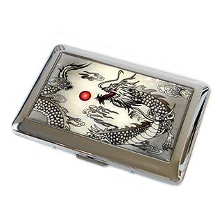 Antik Alive Mutter of Pearl Black Dragon Design Herren Gravur Metall Zigarettenspitze Fall