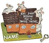 alles-meine.de GmbH Spardose -  Ein Paar Mäuse für´s Neue Heim  - mit Schlüssel + Name - Stabile Sparbüchse aus Kunstharz - Hausbau Haus Geld Sparschwein Hochzeit - Einfamilienhaus / Wohnung