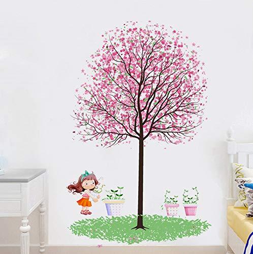 Qhrdp Wandaufkleber Rosa Kirschbaum Unter Dem Kleinen Mädchen Und Blumentopf Wohnzimmer Schlafzimmer Kinderzimmer Aufkleber (50 * 80 Cm)