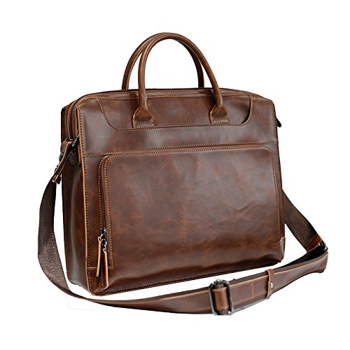 Herren Aktentasche Handtasche Crazy Horse Pu Leder Messenger Reisetasche Business Men Totebeutel Mann Casual Crossbody Aktentaschen