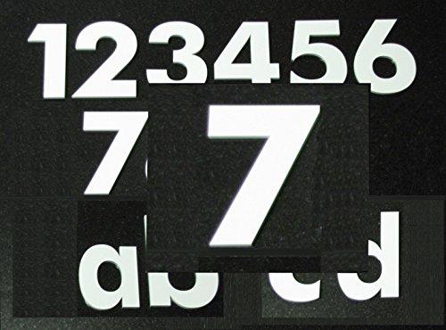 Hausnummer 7 - HÖHE: 65mm, 3mm dick (KEINE dünne Folie), witterungsbeständig, schönes Design und sehr einfache Montage (kleben statt bohren) HAUSNUMMERN, NUMMER, ZAHL für Haustür, Tür, Briefkasten u. Sprechanlage in WEISS aus PLEXIGLAS -