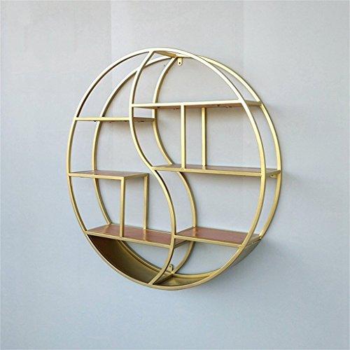 Runde Wand-angebrachte Regal-Goldene Wand-Berg-Retro- Multifunktionseisen-Regal-Sich Hin- und herbewegende Einheits-Rahmen-Wand-Dekorative Regale Regal (Farbe : Gold) -