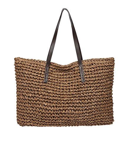 Defeng Strohtasche Damen Schultertasche Sommer Urlaub Strand Handtasche Strandtasche Damenhandtasche Tote Shopper (Kaffeebraun-B013) (Stroh-strand-tote)