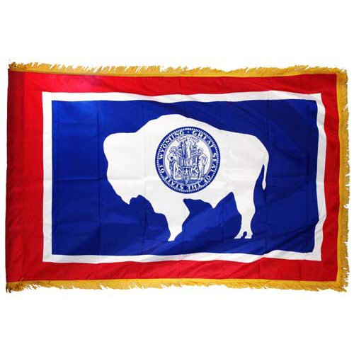 Online Stores Wyoming Nylon Flag with Indoor Pole Hem And Fringe, 3 by 5-Feet