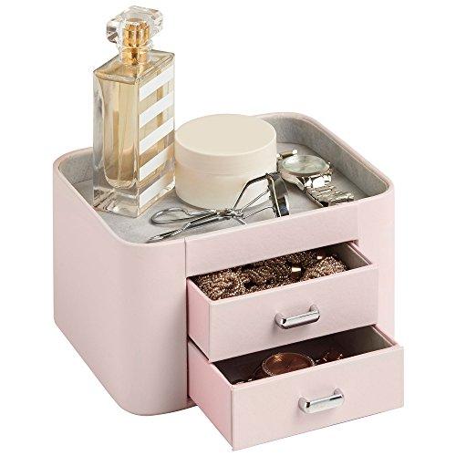 Beautify Boîte à Bijoux et Accessoires 2 tiroirs – Imitation Cuir Rose