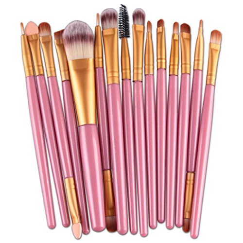 BZLine® Ensemble de pinceaux de maquillage, 15 pcs/Ensembles Eye Shadow Foundation sourcils Brosse à lèvres (Pink)