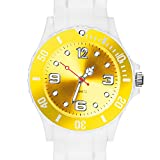 Taffstyle Damen Herren Sportuhr Armbanduhr Silikon Sport Watch Farbige Krone Analog Quarz Uhr 39mm Weiß Gelb
