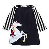 Baby Junge Kleidung Outfit, Honestyi Kleinkind Baby Mädchen Kind Frühling Kleidung Pferd Streifen Druck Prinzessin Party Kleid (Marine,90 100 110 120 130 140)