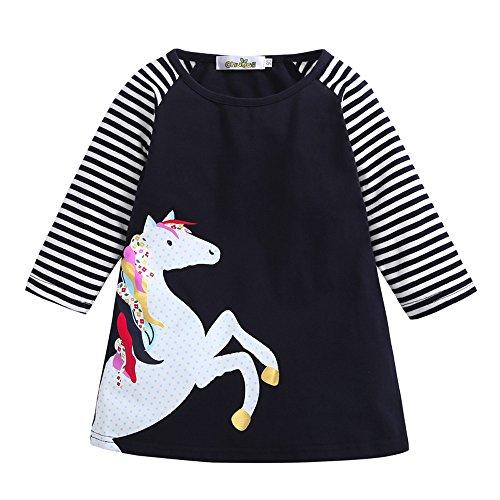 (Baby Junge Kleidung Outfit, Honestyi Kleinkind Baby Mädchen Kind Frühling Kleidung Pferd Streifen Druck Prinzessin Party Kleid (Marine,110))