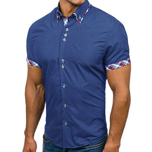 Preisvergleich Produktbild JIANGfu Herren Poloshirt Core Men's Casual Slim Short Sleeve Patchwork T Shirt Slim Polo Einfarbig Basic Kurzarm Polohemd (Blau,  2XL)
