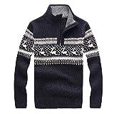Celucke Weihnachten Norweger Pullover Herren Strickjacke Cardigan Strickpullover Feinstrick Langarm mit Reißverschluss Stehkragen